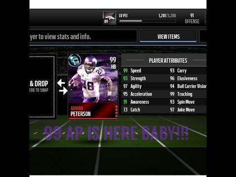 849 New 99 positional hero Adrian Peterson review!!! madden mobile
