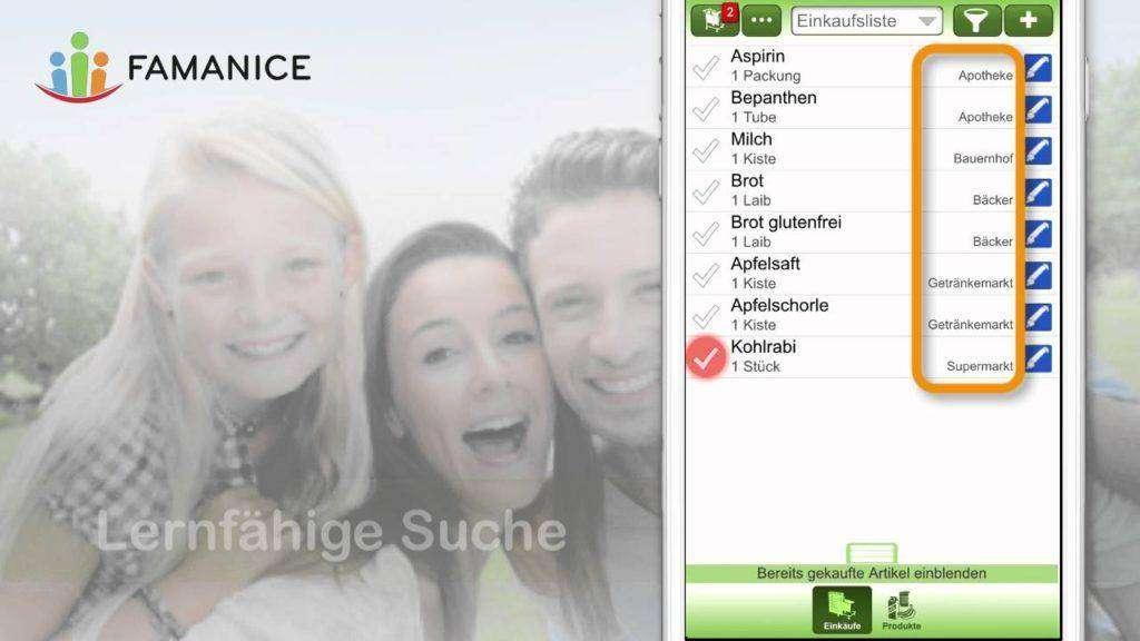 1518 Einkaufsliste-App für iPhone / Android usw. in der FAMANICE App
