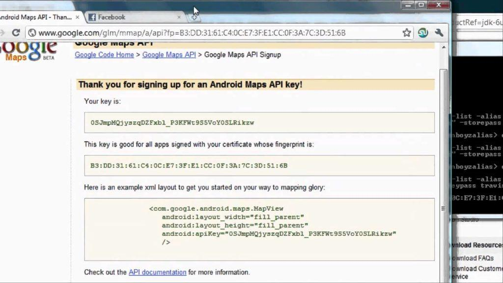 4375 Android Tutorial & Lessons 29: Finish setting up Google API with key code