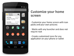 Awesome icons lets you use icon packs with any stock or custom Android launcher, no root required