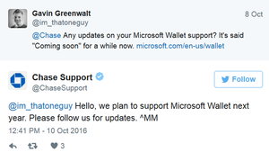 Chase coming to Microsoft Wallet next year?
