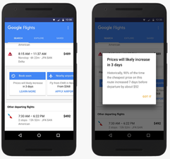 Google Flights now gives you early warning of an expected fare increase