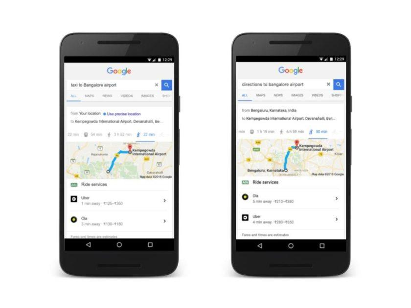 5282 You can now book an Ola or Uber ride directly from Google Search in India